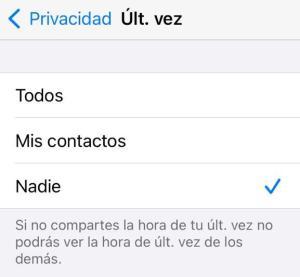 Patrones de ultima conexion WhatsApp