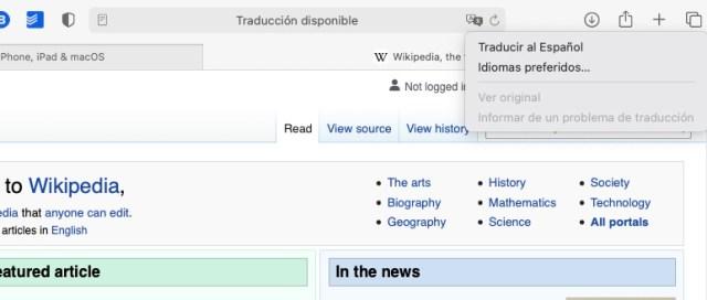 Safari tiene traductor integrado