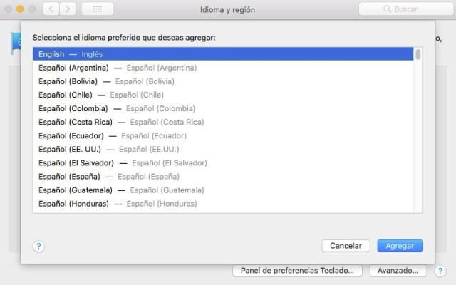 Agregar idioma para macOS
