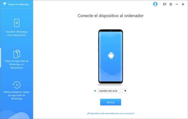Conecta el dispositivo para copia de seguridad
