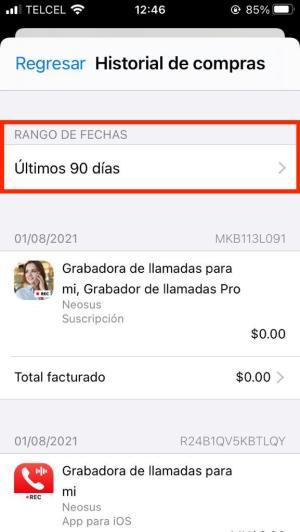 Apps compradas iPhone por rango de fechas