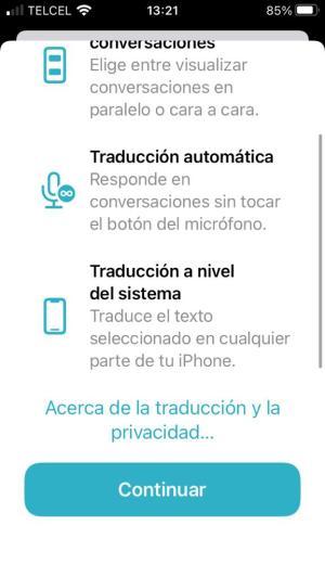Novedades de Traducir en iOS 15
