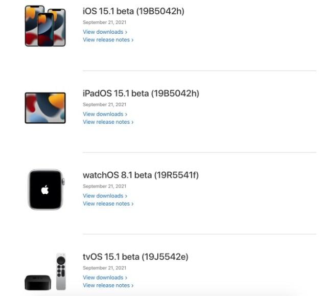 Nuevas betas iOS 15.1 para desarrolladores