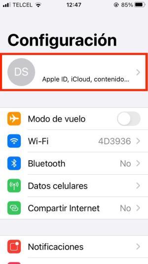Ver opciones de Apple ID