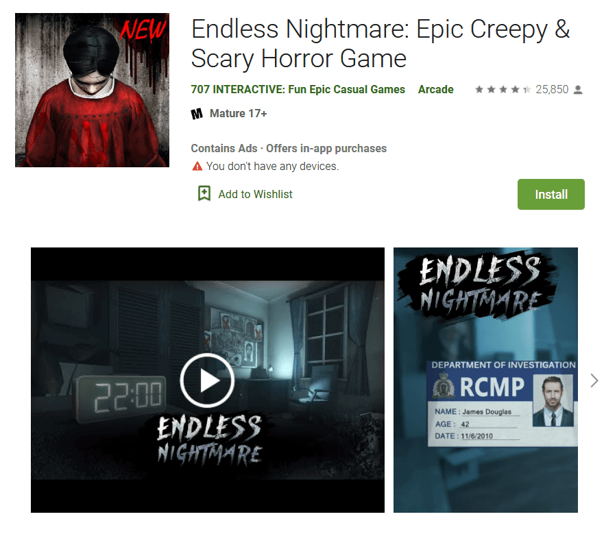 Endless Nightmare Epic Creepy Scary Horror Game-min