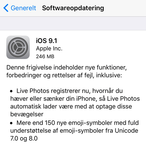 iOS 9.1 indeholder mere end 150 nye emojis, forbedringer til Live Photos og andre små forbedringer