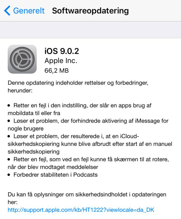 iOS 9.0.2 retter flere forskellige småfejl med iOS 9.