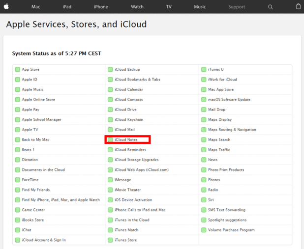 Apples services side skal gerne have en grøn kasse ud for iCloud Notes