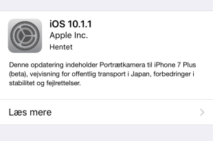 iOS 10.1.1 Softwareopdatering