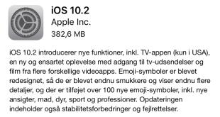 Opdater til iOS 10.2