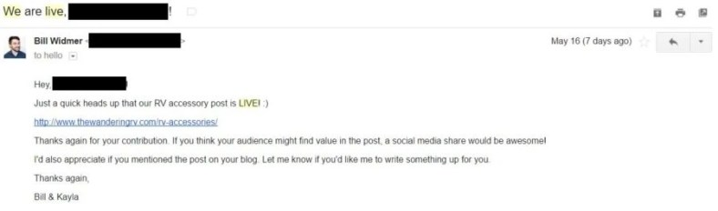 Email outreach to promote your new blog