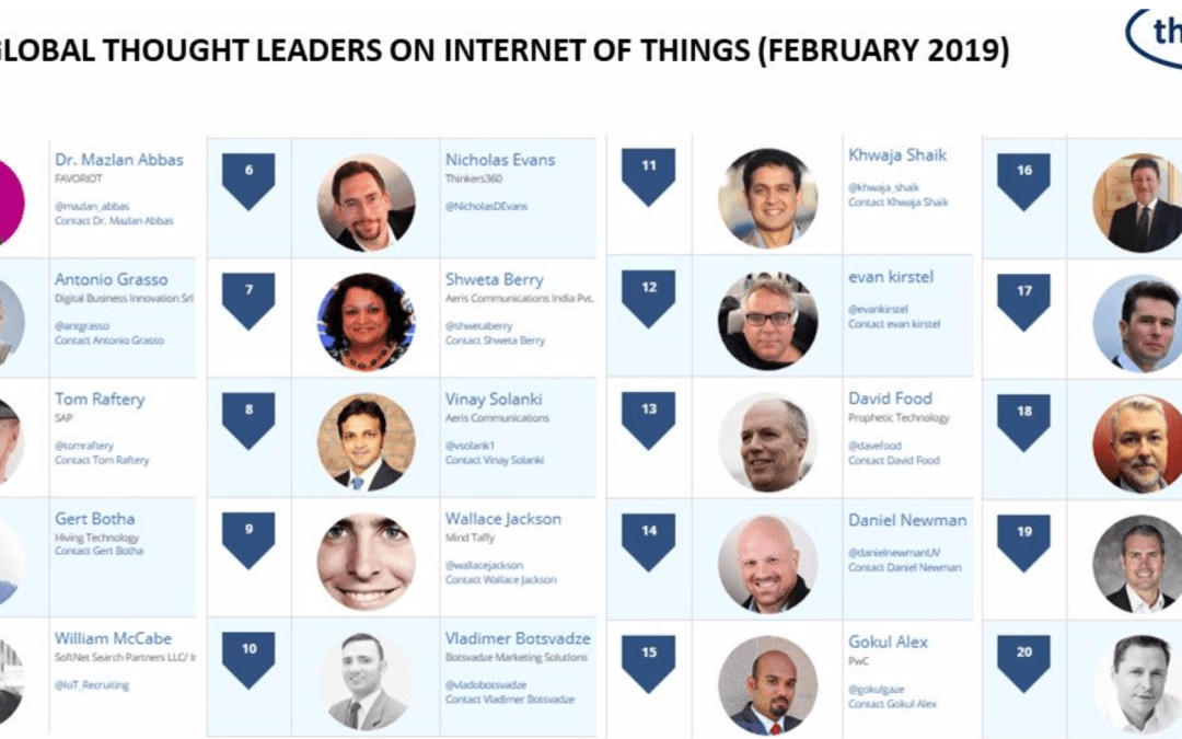 Top 20 Global Thought Leaders on the Internet of Things (February 2019)