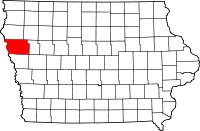 Map of Woodbury County in Iowa