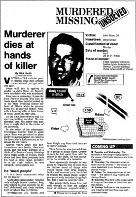 """Read Rick Smith's """"Murderer dies at hands of killer"""" published in the Gazette March 16, 1992."""