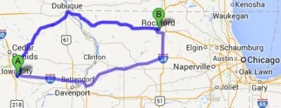 This Google map shows two different routes from Iowa City, Iowa, to Rockford, Ill., where Frances Bloomfield's body was found.