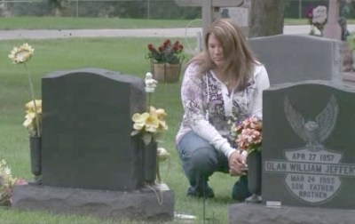 Shannon at her father's grave site