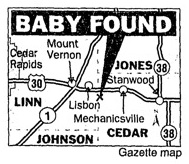 Map of where baby found