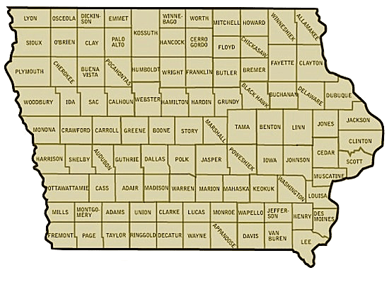 Iowa Interactive Map by County