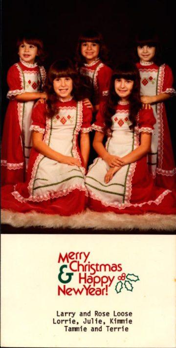 Kim Loose and sisters, Christmas card