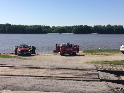 Emergency vehicles at boat ramp