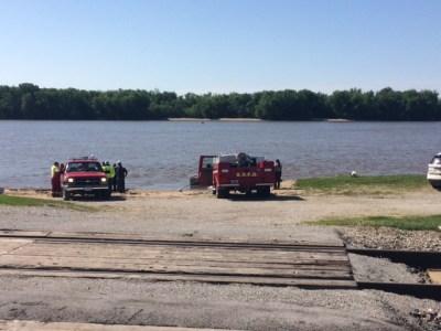 Emergency vehicles at boat ramp