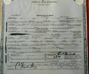 Viola Findley's Presumptive Certificate of Death