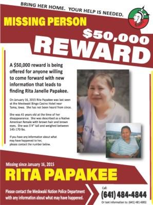 Reward poster for Rita Papakee