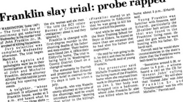 Newspaper clipping on the Franklin trial