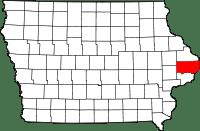 Map of Iowa showing Clinton County