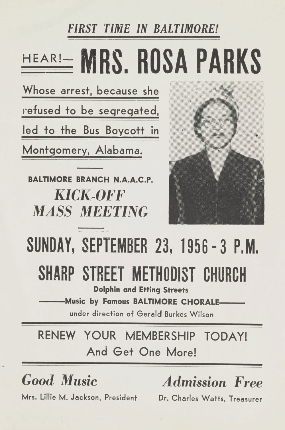 rosa parks meeting poster between 1956