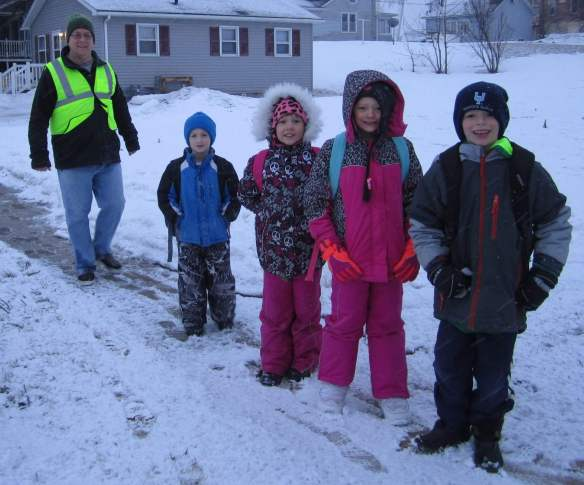 West Union Walking School Bus braving the cold in March of 2014.