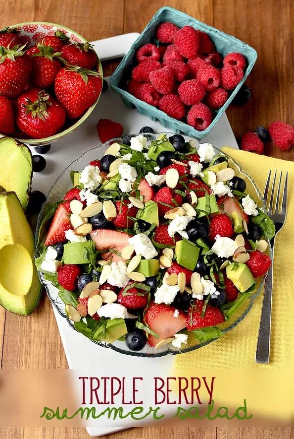 Triple-Berry Summer Salad | iowagirleats.com