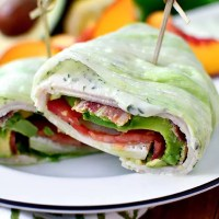 California Turkey and Bacon Lettuce Wraps with Basil-Mayo (Video)