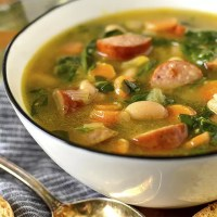 Smoked Sausage, White Bean and Spinach Soup
