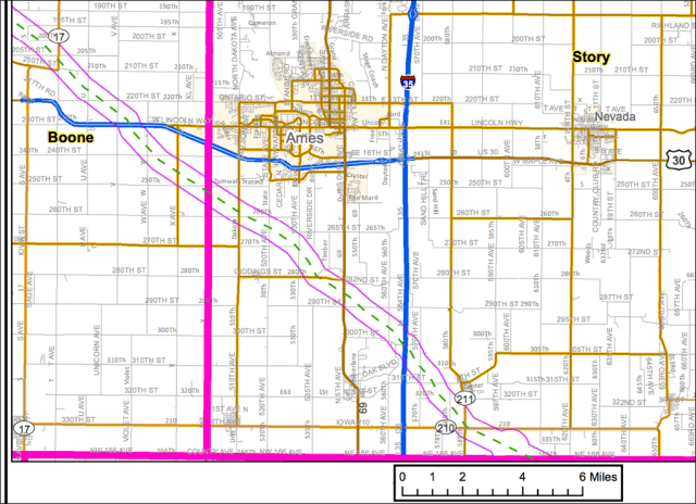 The Bakken pipeline's proposed route through Story County. Image: Dakota Access