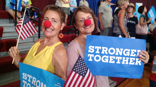 Clinton supporters Kelly Boon, left, and Kim Weeks. Photo: Gavin Aronsen/Iowa Informer