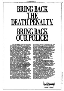 Trump's 1989 newspaper ad. Image: New York Daily News via the Guardian