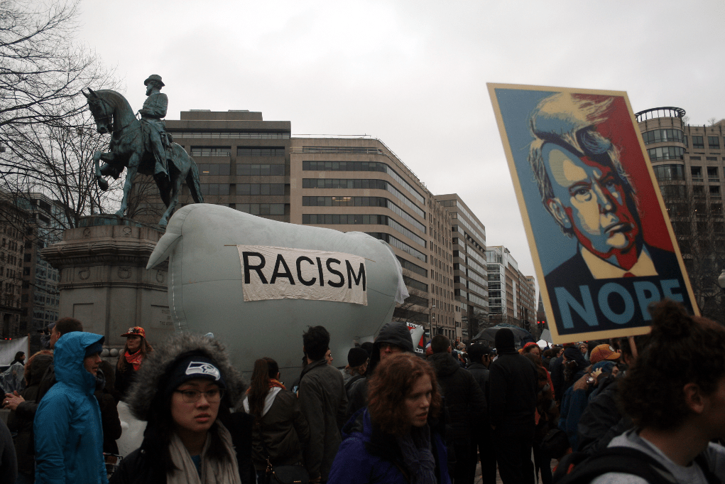 A post-inauguration demonstration Friday at McPherson Square. Photo: Gavin Aronsen