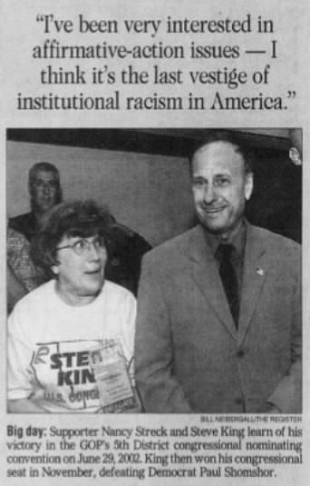 A clipping from the Sunday, April 13, 2003, edition of the Des Moines Register quoting King with a photo of the congressman on the day he learned that he'd won the GOP's 5th District nominating convention in 2002.