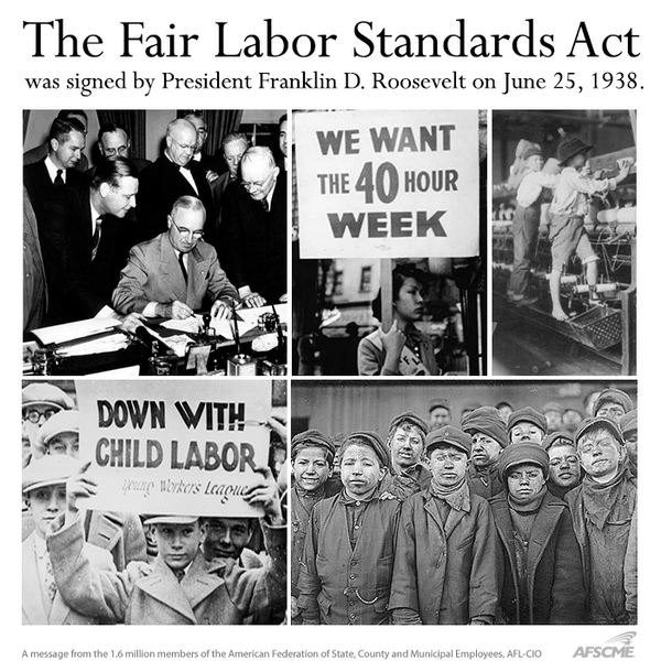 roosevelt signed into law fair labor standards act to establish minimum wages Roosevelt signed the bill the next day, setting the nation's first federally mandated  minimum wage at 25 cents an hour and establishing bedrock labor  but a funny  thing happened after flsa became law — wages and.