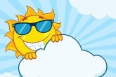 Images of a sun smiling wearing sunglasses