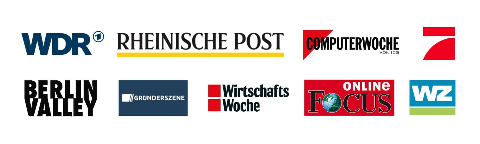 Logos WDR, RP, Computerwoche, ProSieben, Berlin Valley, Gründerszene, WiWo, Focus Online, WZ