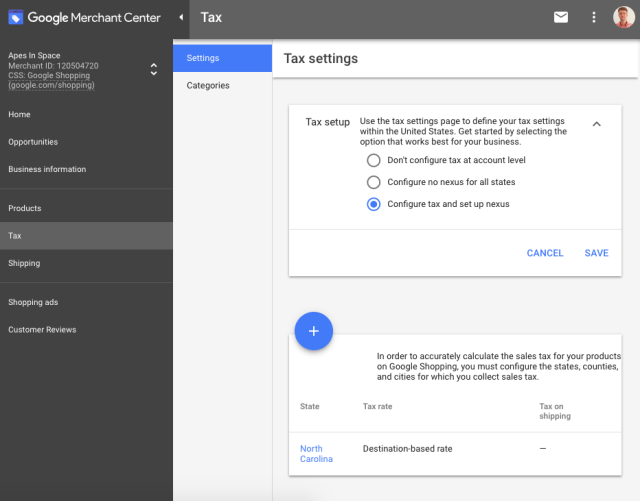 google merchant center tax settings