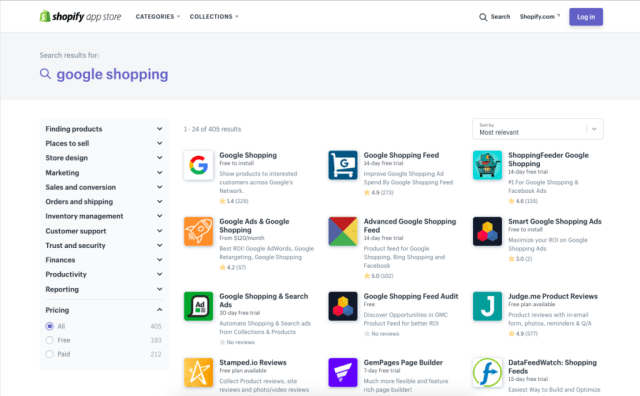 shopify google shopping app store overview