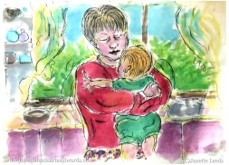 Mother an baby painting