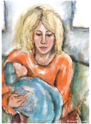 Painting of woman with baby
