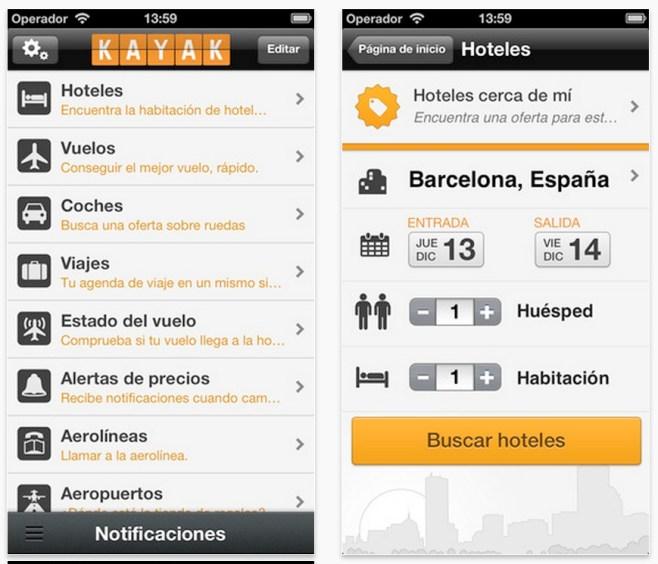 KAYAK PRO Vuelos y Hoteles se actualiza a la versión 26.1