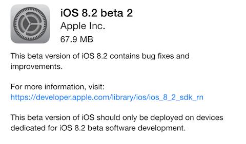 Apple acaba de publicar iOS 8.2 beta 2 para los desarrolladores, varias actualizaciones han salido de forma casi simultanea