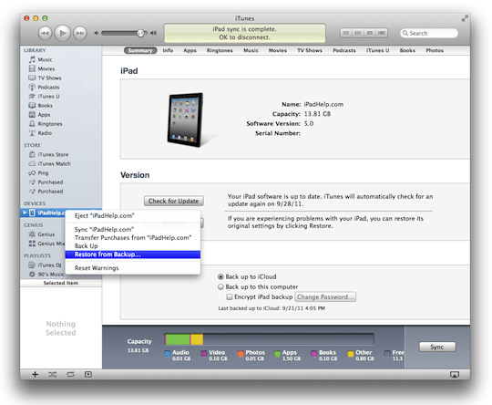How to backup ipad to itunes