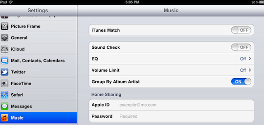 iOS 5 Music Settings